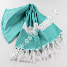 Nile Green Super Diamond Towel Fouta Peshtemal Bath Beach Spa Sauna Hammam Bric