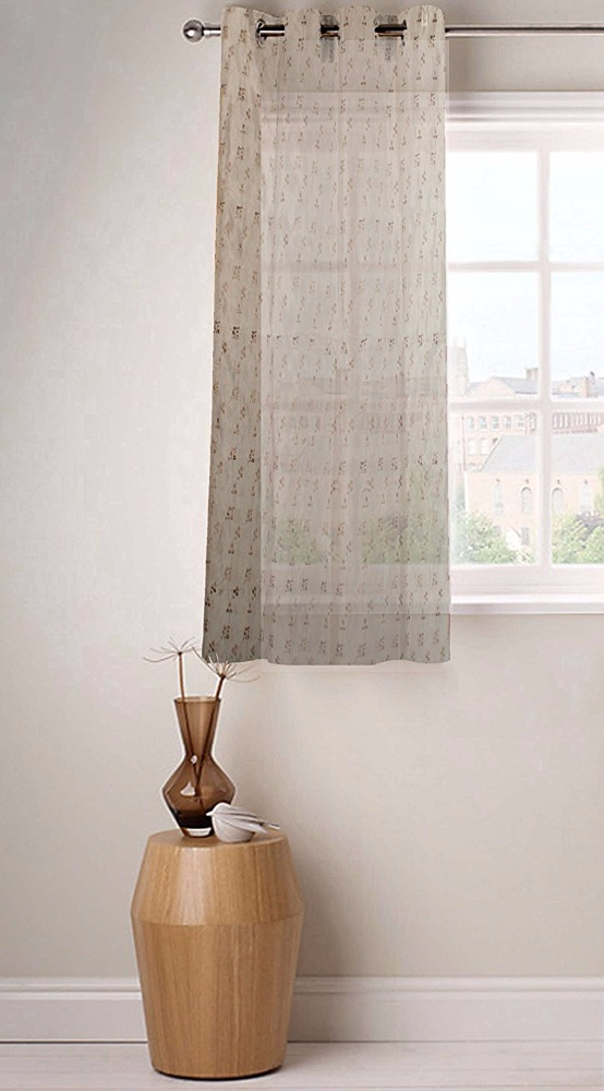 Fabutex Swiss Embroidery made window curtain Beige color design