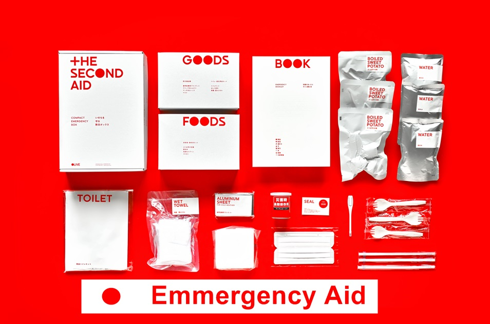 Japan Make: Disaster Prebention Kit, Drink Water, Food, Book how to survive etc.