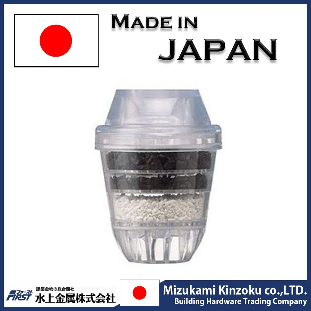 water filter attached to spout of faucet with activated carbon made in Japan