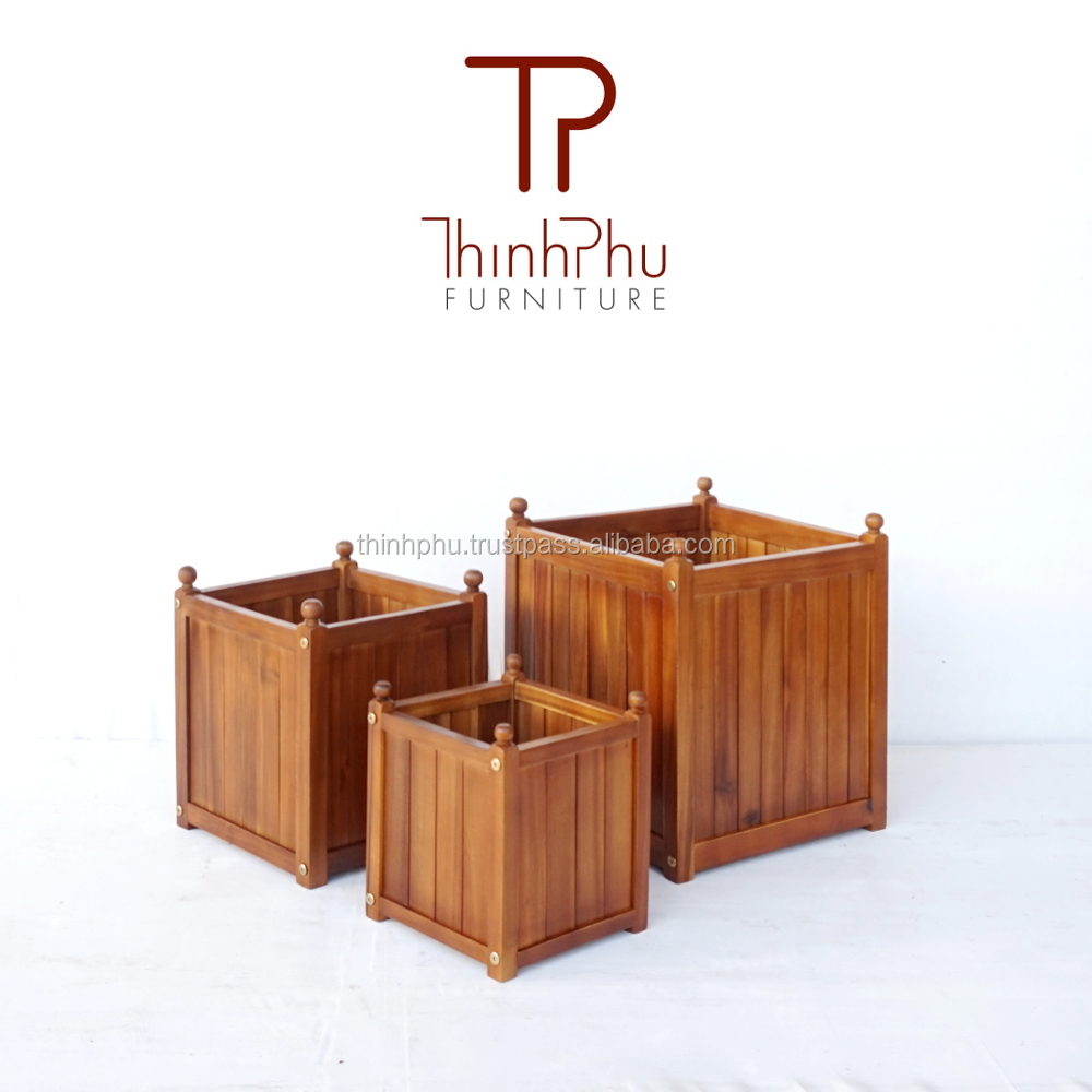 PLANTER BOX - acacia square planter furniture for garden -solid wood flower box