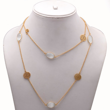 Rainbow Moonstone Necklace Chain Gold Stone Necklace