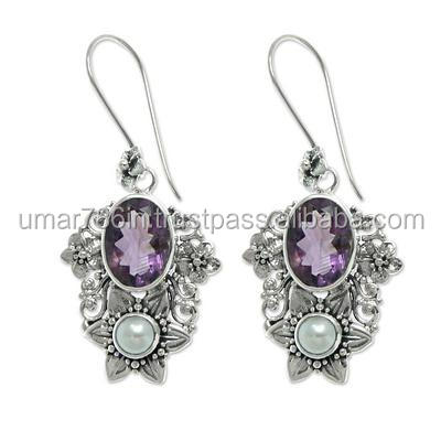 Cultured pearl and Amethyst dangle silver earring