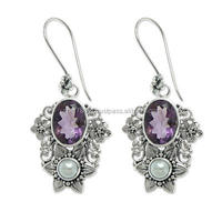 falak gems Cultured pearl and amethyst dangle earrings, Bali Blossoms earrings