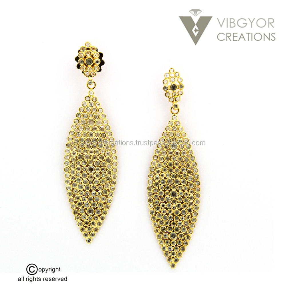 beautiful new arrival pave diamond 14k gold dangler 925 sterling silver jewelry earrings