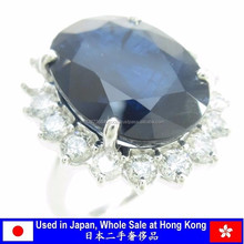 K18 Yellow Gold Sapphire Necklace , Japan Used Jewelry Wholesale at Hong Kong