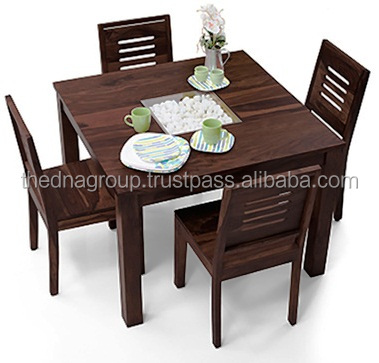 Mahogany Color Finish Square 4 Seater Wooden Dining Table Set