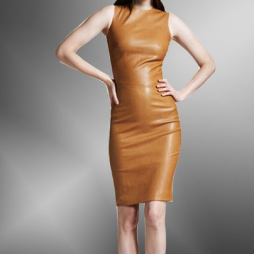 tan Fashion for women wear leather dress /leather hot wear/stylish leather women wearing
