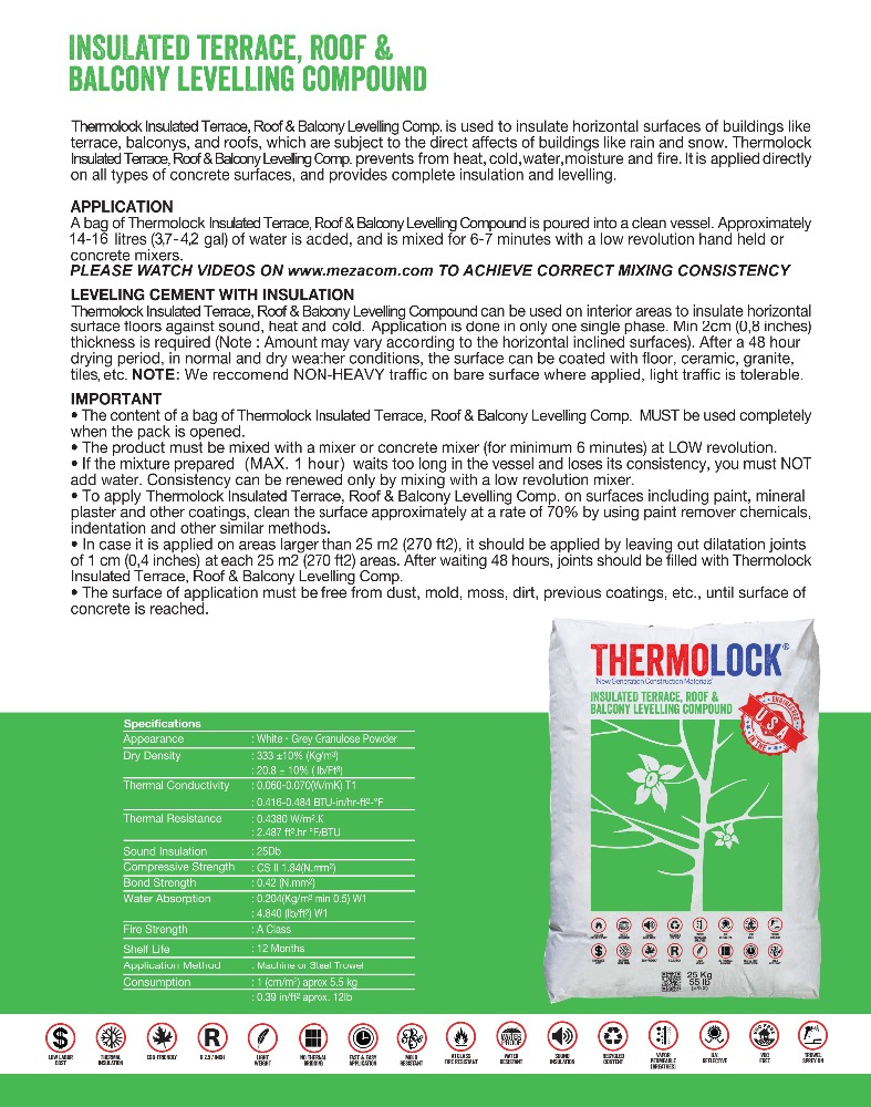 THERMOLOCK INSULATED TERRACE AND BALCONY LEVELLING COMPOUND