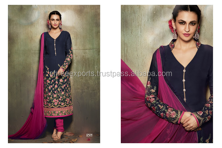 Outstanding Navy Blue Georgette Churidar Suit/fancy designer suit/wholesale suit
