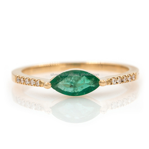 14k Yellow Gold Genuine Diamond Emerald Gemstone Wedding Ring Handmade Jewelry
