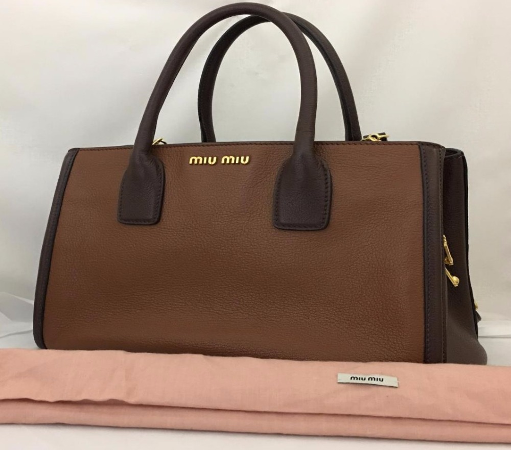 Used designer Brand Handbag miu miu Brown Leather 2Way shoulder Bags for bulk sale.