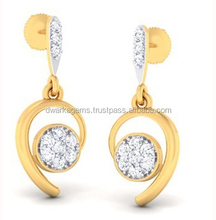 Indian wholesale gold jewelry with diamond earring
