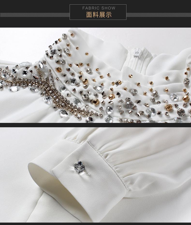 polyester OL office ladies shirt noble with white copy diamond cufflinks women work wear spring autumn