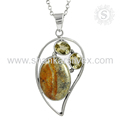 Beautiful design multi gemstone silver pendant 925 sterling pendants wholesale jewellery exporter