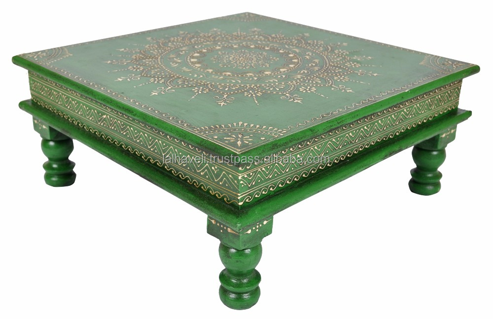 Indian Cheap Price Wooden Handicrafts Coffee Furnishing Pooja Wedding Side Footstool Table