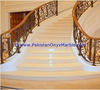 Natural Stone marble stairs steps risers beige marble modern design