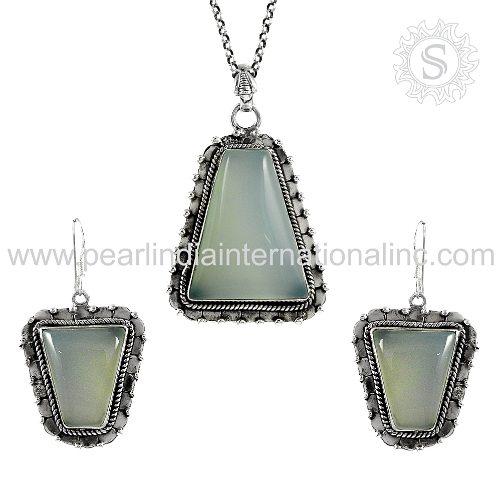 New design chalcedony jewelry set 925 sterling silver wholesale jewelry set manufacturer india