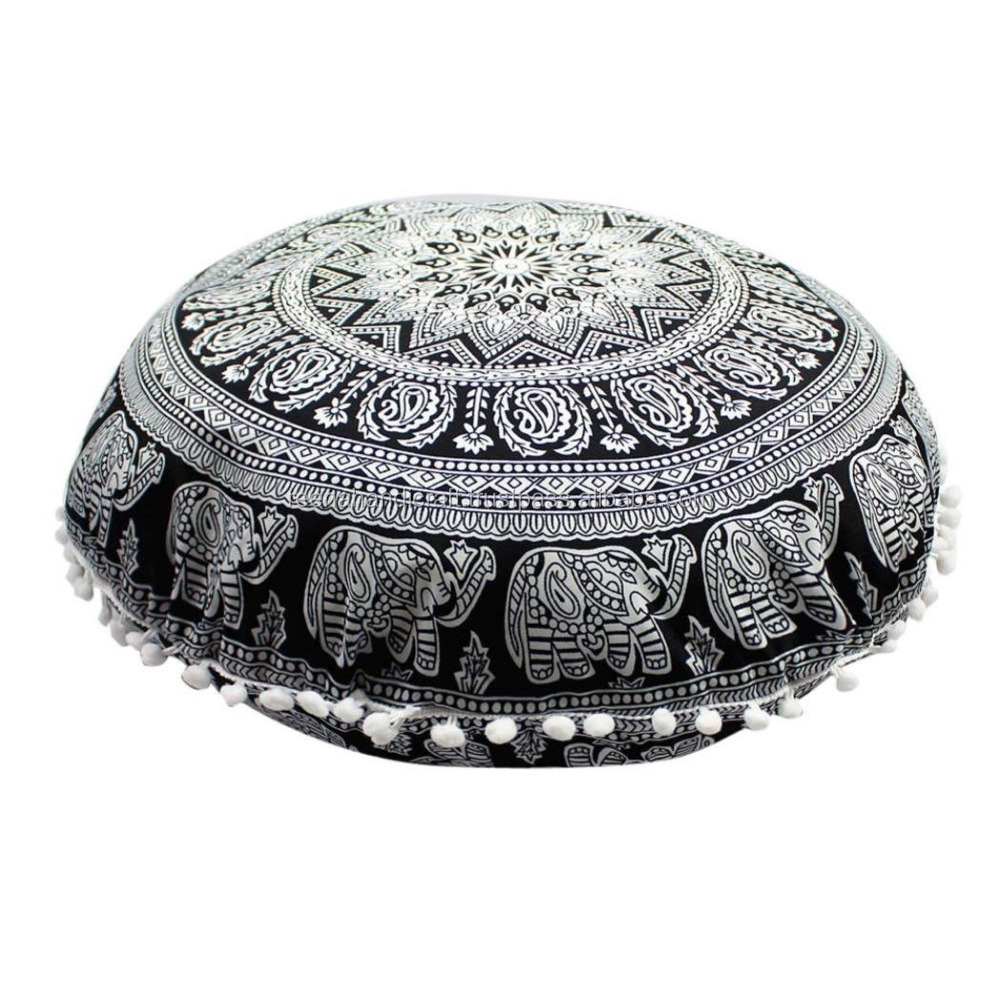 "Indian Round Mandala Elephant Chain Tapestry Floor Pillows Meditation Cushion Covers Ottoman Poufs Boho Throw 32"" Shams"