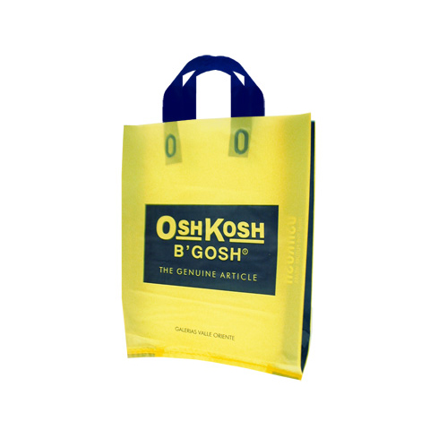 high quality plastic carry soft loop handle plastic bag design with side gusset bag
