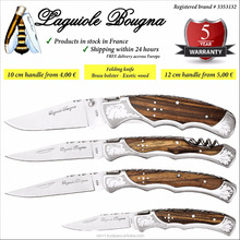 Laguiole bougna pocket knife, colored wood, stainless steel folding blade, utility & camping. 5 years guarantee.