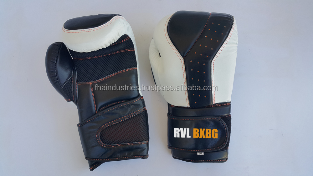 Boxing gloves black white leather or made of pu high quality low price