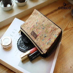 Make up bag Cosmetic Pouch Vegan Leather Cork Compact Makeup Bag