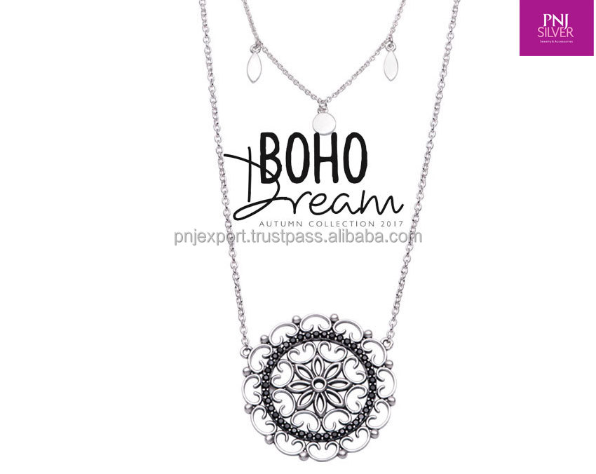 925 sterling silver jewelry silver necklace vintage Bohemian jewelry floral pendant - PNJ brand - Vietnam Jewelry Manufacturer