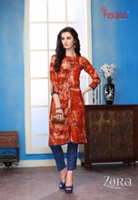 Hayaa Zara Heavy Reyon Prints With Trandy Patterns Fancy Kurti