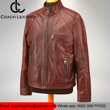 Brown Leather Clothing Up Slim Fit Fashion Design Soft Lamb Leather Jacket for Men