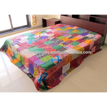Ikat silk Patchwork Kantha Quilt Old Vintage Patola silk Blanket Throw Bedspread
