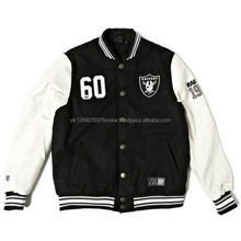 2017 spring winter custom college wear varsity jackets, popular wool body leather sleeve varsity jackets