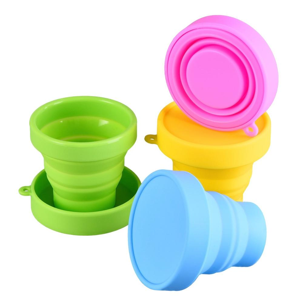 collapsible silicone cup folding cup with keyring for outdoor,200ml