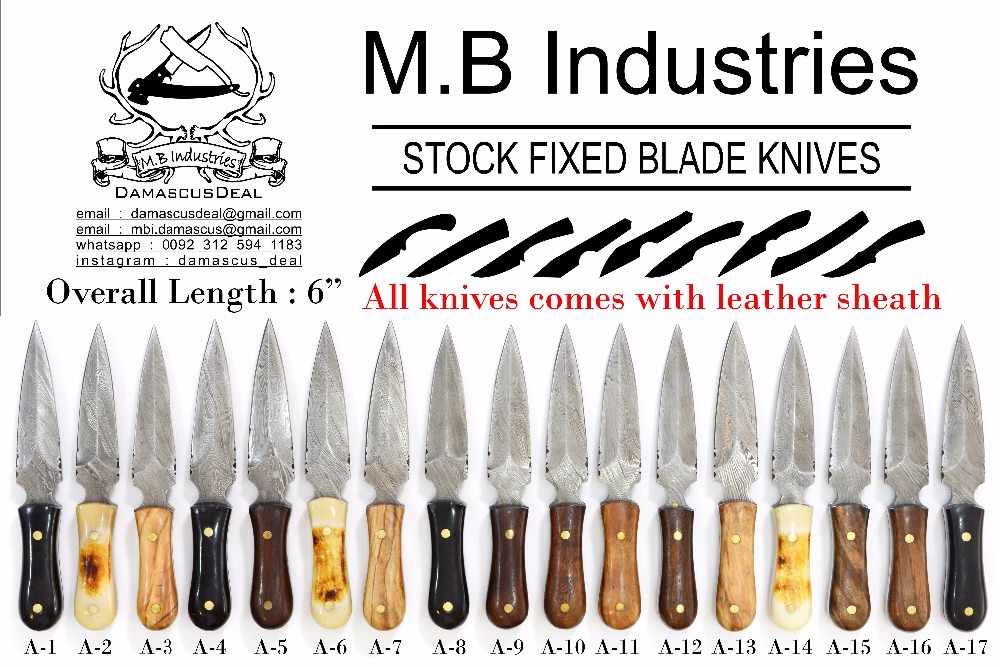 A Series Damascus Steel Knives in Variety of Handle Materials