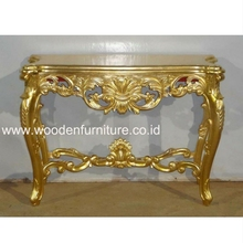Antique Reproduction Hall Table Mahogany Painted Gold Leaf Console Table French Style Classic Living Room Gilded Home Furniture