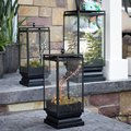 Outdoor Black Metal & Glass Led Wedding Lantern For Wedding