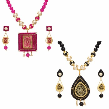Jaipur Mart Gold Plated Rani & Black Color Colored Glass Stone, Color Beads, Pearl Necklace With Earrings Combo Of 2 Pieces