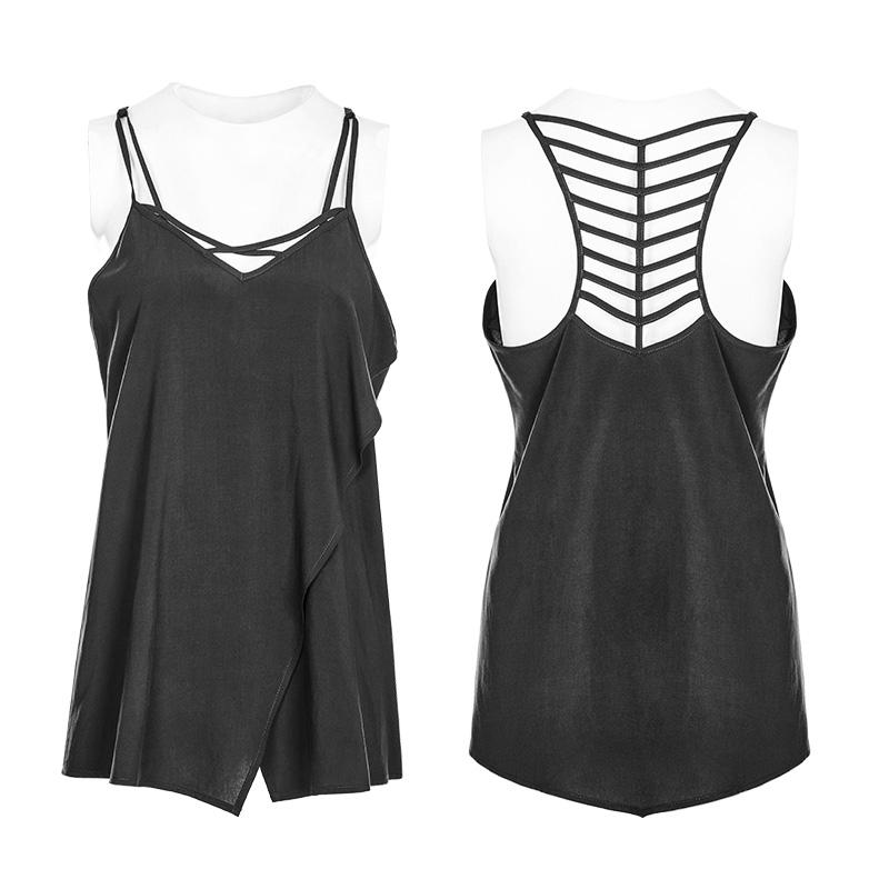 Punk Rave WT-539 Gothic black sleeveless top with shiny vegan leather choker
