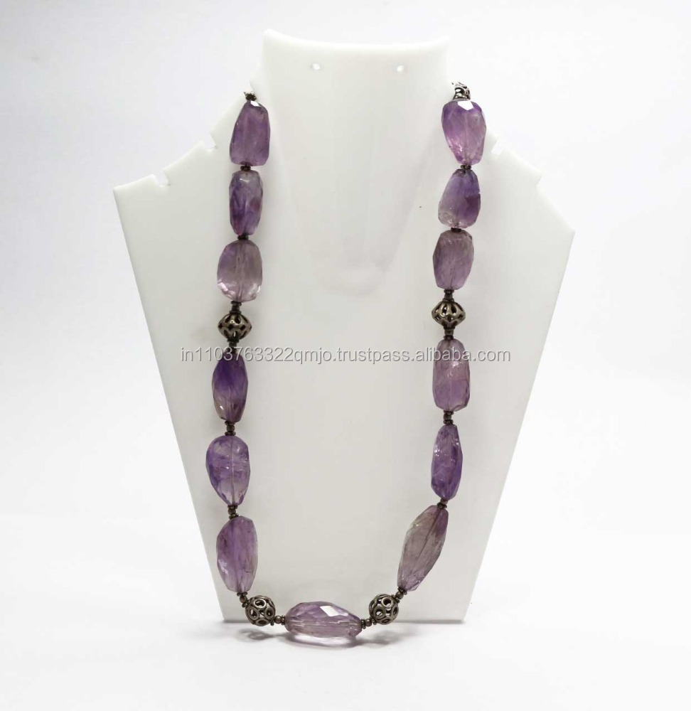 Handmade Faceted Amethyst Nugget 925 Sterling Silver Beads Necklace