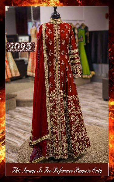 Maroon Designer Heavy Embroidery Work Semi Stiched Gown