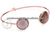 Beautiful Smokey Quartz 18k Rose Gold Gemstone Bangles For Women