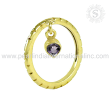 Gold plated charm purple amethyst silver jewelry 925 sterling pure silver rings trendy wholesale silver jewelry ring suppliers