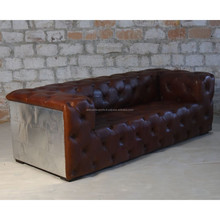 INDUSTRIAL VINTAGE LEATHER SOFA, AVIATOR STYLE FURNITURE