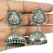 Shining crystal silver jewelry jhumka earrings suppliers 925 sterling silver earrings jewelry wholesaler from india