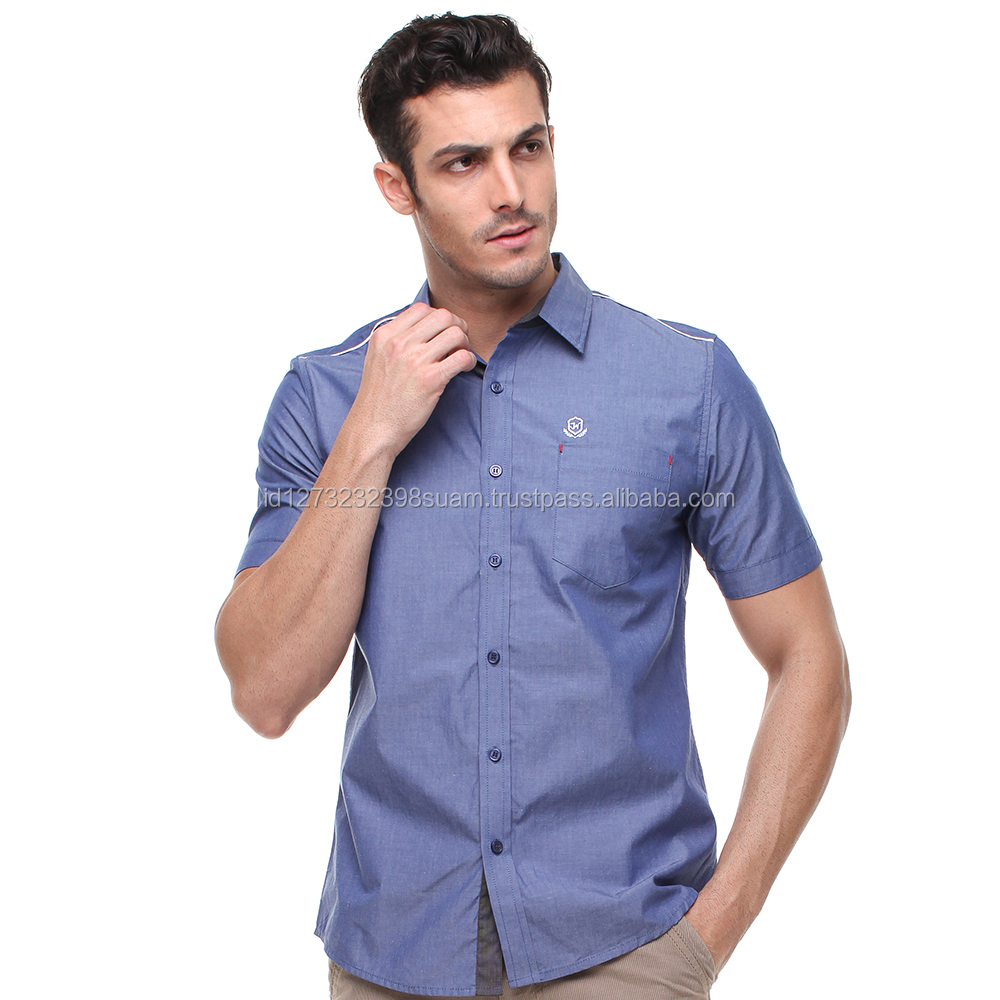 Hot Stylish Slim Fit Short Sleeve Casual Active Blue Shirt