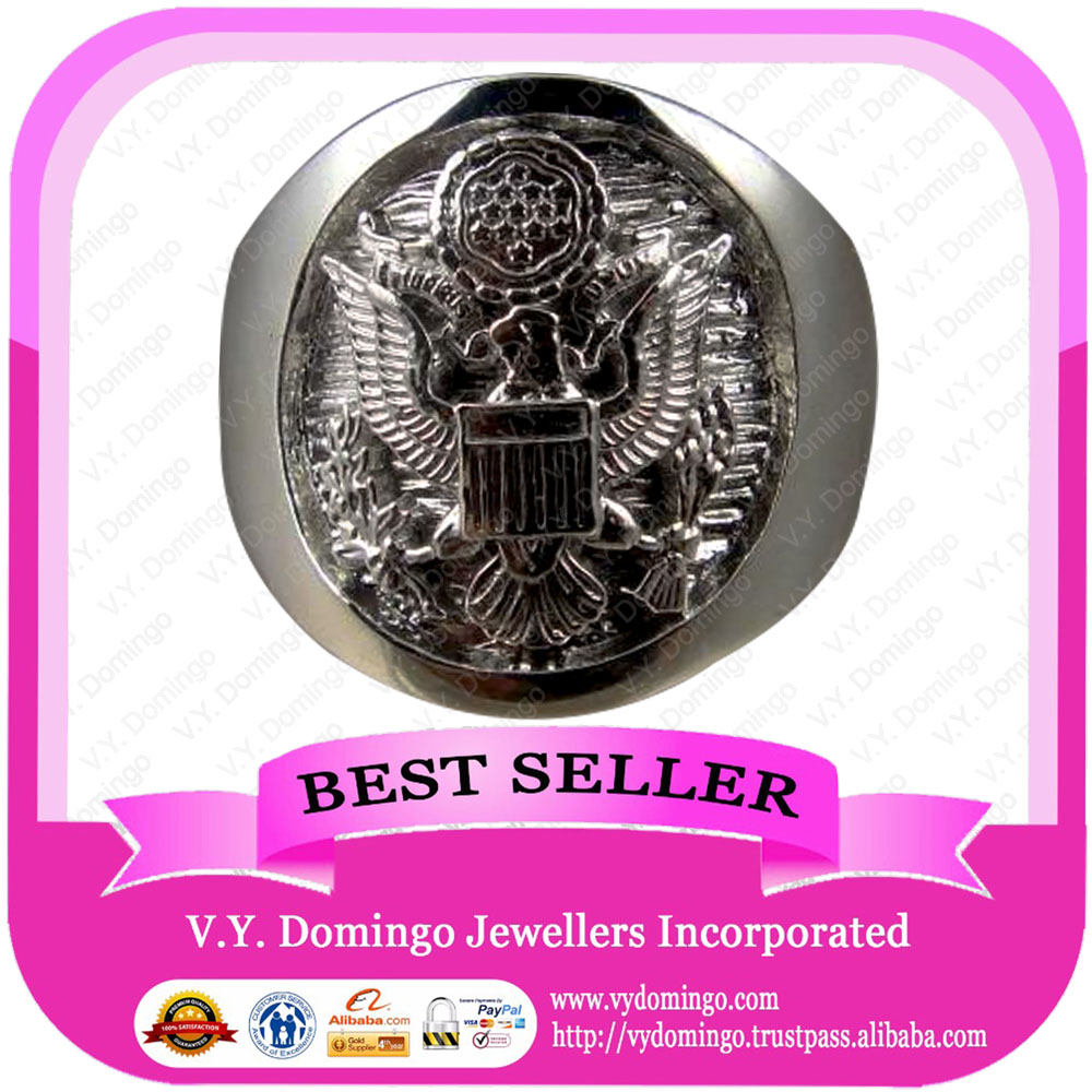 Pure Sterling Silver 925 Signet Style Customized Military Ring