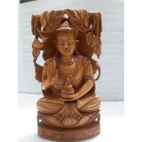 Carved Wooden Buddhas~ Buddha Meditating Statue Wood Carving~ Wooden Craft Buddha Carving
