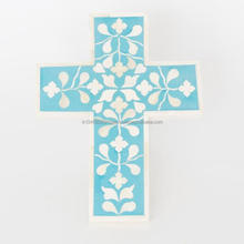 Bone inlay wooden wall decorative cross