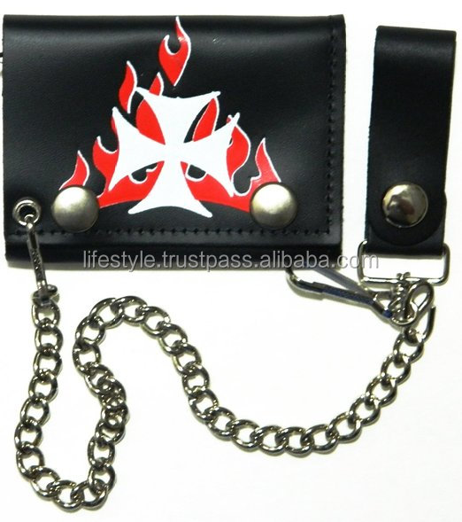 coin slot wallet with cell phone pocket leather biker chain wa