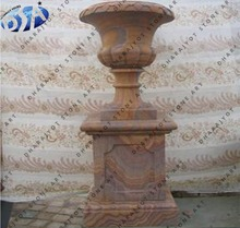Rainbow Sandstone Garden Wall Decor Flower Urn With Square Base